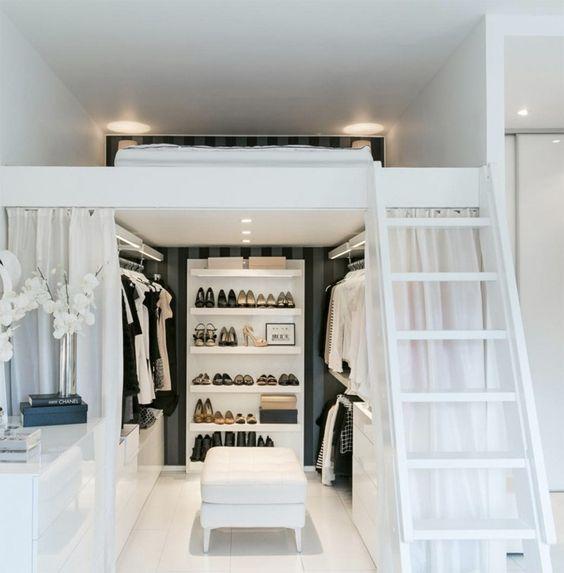 Incroyable Pourquoi Ne Pas Créer Votre Dressing Sous Un Lit Mezzanine ? (Source Image  : Pinterest)
